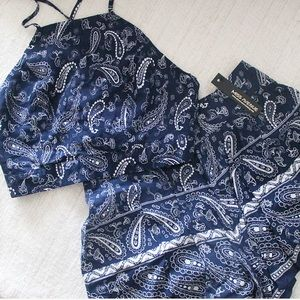 NWT Miss Avenue Navy Paisley Two Piece Set